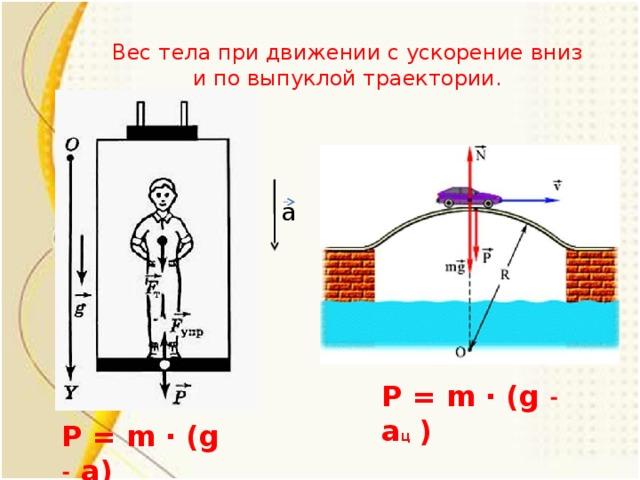 Вес тела при движении с ускорение вниз и по выпуклой траектории. а P = m ∙ (g ˗ a ц  ) P = m ∙ (g ˗ a)