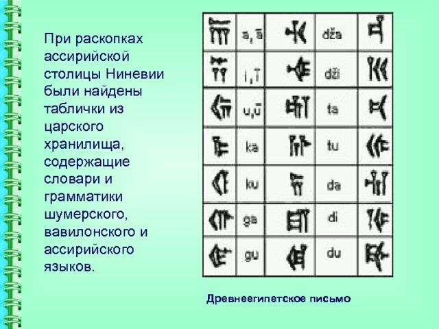 При раскопках ассирийской столицы Ниневии были найдены таблички из царского хранилища, содержащие словари и грамматики шумерского, вавилонского и ассирийского языков. Древнеегипетское письмо