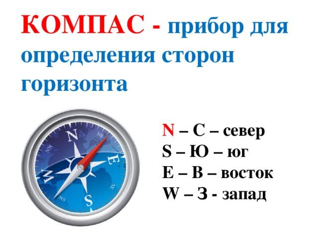 Фотография компаса с подписанием сторон света