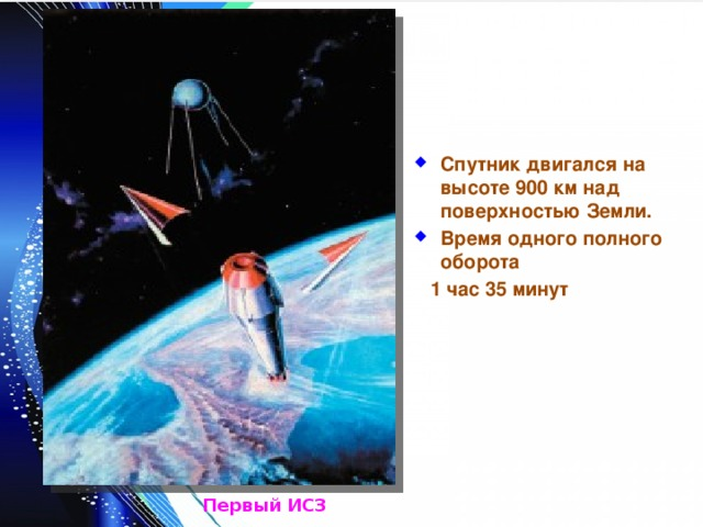 Спутник двигался на высоте 900 км над поверхностью Земли. Время одного полного оборота  1 час 35 минут Первый ИСЗ
